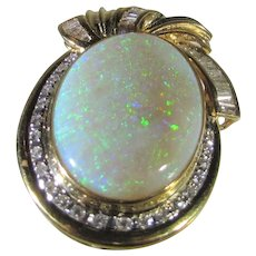 14 Karat Yellow Gold Jelly Opal and Diamond Enhancer or Pin