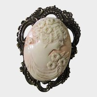Vintage Early Carved Cameo In Early Plastic