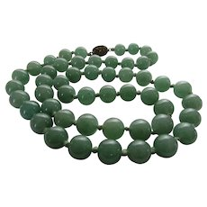 Nephrite Jade Beads With Clasp Marked Silver