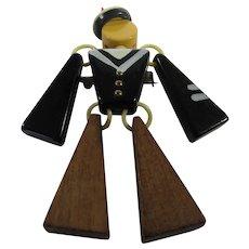 Bakelite and Wood Sailor Boy Pin