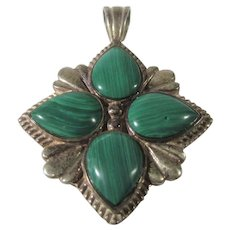 Sterling Silver Pendant With Malachite