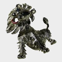 Vintage Tremblant Lion Pin With Blue Crystal Eyes and Enamelled Tongue