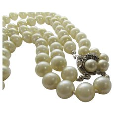 Ciner Double Strand Faux Pearls With Focal Clasp
