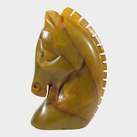 Bakelite Carved and Marbled Butterscotch Horse's Head Pin