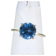 14 Karat Yellow Gold Blue Topaz Solitaire Ring