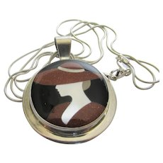 Sterling Silver Designer Signed Pendant With Inlaid Stone of Chic Woman On Sterling Silver Chain