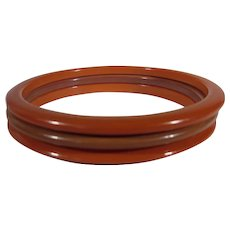 Bakelite Spacer Cuff Trio in Red and Light Brown
