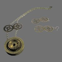Vintage Upcycled Clock and Watch Parts Necklace and Pierced Earring Set