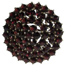 Vintage Bohemian Garnet Cluster Pin