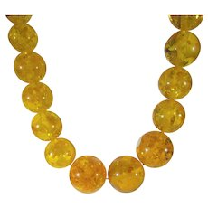 Vintage Clarified Baltic Natural Amber Graduated Bead Necklace