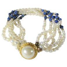 Freshwater Pearls and Lapis Lazuli Bead Bracelet