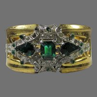 McClelland Barclay Green Crystal Cuff With Clear Accents