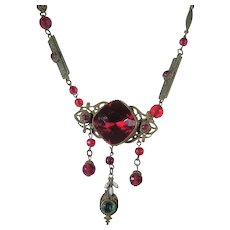 Vintage Cherry Red Crystal Necklace With Unusual Findings