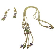 18 Karat Yellow Gold Woven with Gem Bead Design Statement Necklace and Matching Pierced Earrings