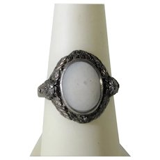 Sterling Silver Ring with White Agate Center