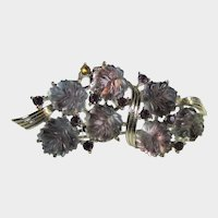 Vintage Pin With Lucite Flowers and Purple Crystals