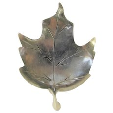 Sterling Silver Artist Signed Leaf Pin