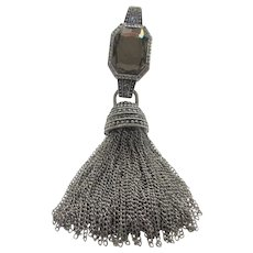 Silver Tone Statement Pendant With Faux Hematite and Lots of Tassels