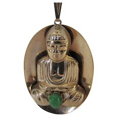 VIntage Goldtone Buddha with Green Cabochon Accent on Chain