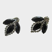 Weiss Signed Clip On Earrings with Black and Clear Crystals