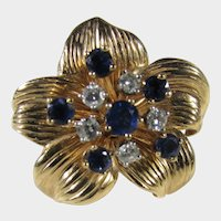 14 Karat Yellow Gold Sapphire and Diamond Ring