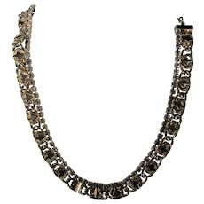 Vintage Hobe Mid Century Goldtone Necklace With Grey Crystal Accents