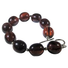Bakelite Bead Bracelet With Sterling Clasp and Beads