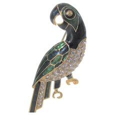 Goldtone Parrot With Green and Dark Blue Enamelling With Crystal Accents