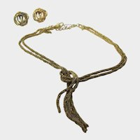 Vintage Goldtone Amerique Set of Necklace and Clip On Earrings in Braided Texture