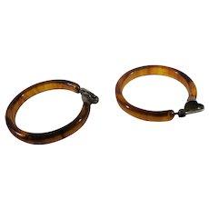 Bakelite Applejuice Clip On Hoop Earrings