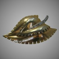 Vintage 1940's Mazer Goldtone Dress Clip with Clear Stone Accents