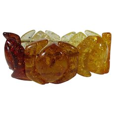 Natural Clarified Amber Stretch Bracelet