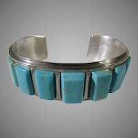 Sterling Silver Cuff With Seven Sleeping Beauty Turquoise Cabochons