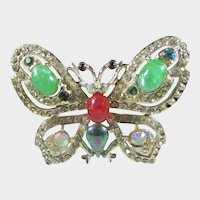 Vintage Bejeweled Butterfly With a Variety of Cabochons and Crystals