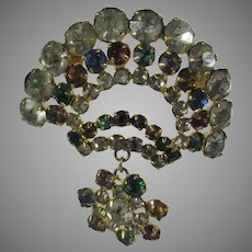 Vintage Pin In Multi Color Crystals With Smaller Pendant Hanging