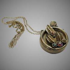 Vintage Goldtone Perfume Bottle on a Goldtone Chain