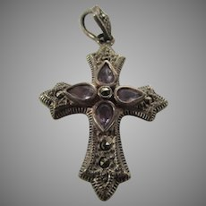 Sterling Silver Cross Pendant With Pale Amethyst Stones and Marcasite Accents