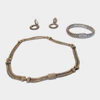 Sterling Silver Designer Matching Necklace, Bracelet and Clip On Earring Set