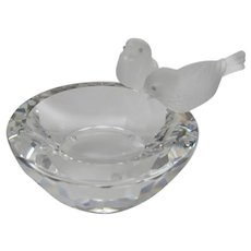 Swarovski Crystal Birds Bowl Bath With  Two Frosted Crystal Birds in Original Box