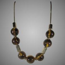 Vintage Liz Claiborne Statement Faux Tortoise Shell Bead Adjustable Necklace