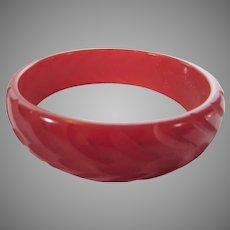 Bakelite Cherry Red Fully Carved Bangle