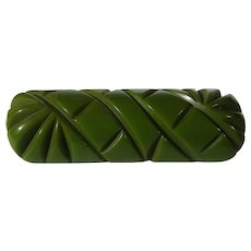 Bakelite Carved Pin in Olive Green with Original C Clasp