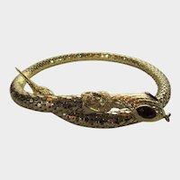 Vintage Goldtone Coiled Serpent Necklace With Red Crystal Eyes