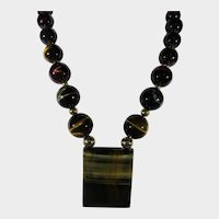 14 Karat Yellow Gold Tiger's Eye Statement Necklace