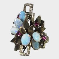 14 Karat Yellow Gold Opal and Ruby Modernist Ring