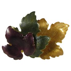 Vintage Enamelled Fall Leaf Pin