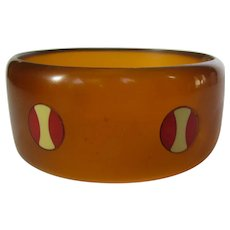 Bakelite Applejuice Wide Bangle With Unique Two Tone Dots