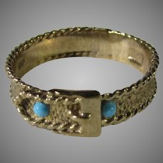 15 Karat Yellow Gold Buckle Ring With Two Matched Persian Turquoise Cabochons