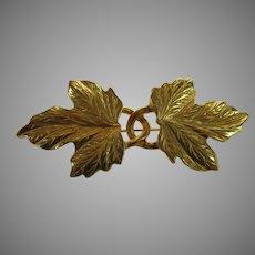 Vintage Brushed Goldtone Entwined Leaves Pin