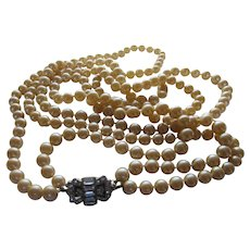 Vintage Faux Pearl Double Strand Necklace With Deco Clasp or Focal